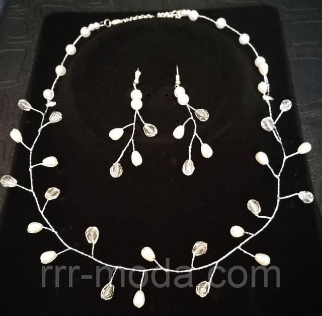 Свадебные украшения. Свадебные наборы - плетенные ожерелья и серьги оптом.