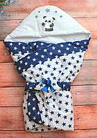 Осенний/весенний конверт одеяло для новорожденных с капюшоном   90х90см Звезды белый
