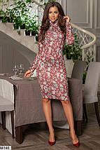 Демисезонное платье миди облегающее рукав длинный цветочный принт бордовое, фото 2