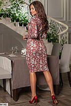 Демисезонное платье миди облегающее рукав длинный цветочный принт бордовое, фото 3