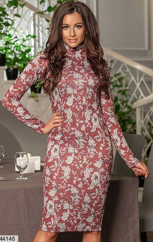 Демисезонное платье миди облегающее рукав длинный цветочный принт бордовое