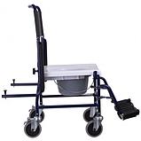 Кресло-туалет на колесах каталка с откидными подлокотниками разборной, фото 5