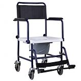 Кресло-туалет на колесах каталка с откидными подлокотниками разборной, фото 3