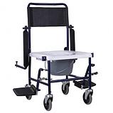 Кресло-туалет на колесах каталка с откидными подлокотниками разборной, фото 2