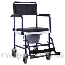 Кресло-туалет на колесах каталка с откидными подлокотниками разборной