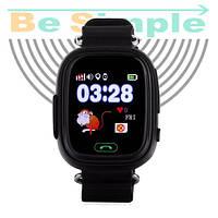 Smart Baby Watch Q100 c GPS трекером / Детские умные часы Черный