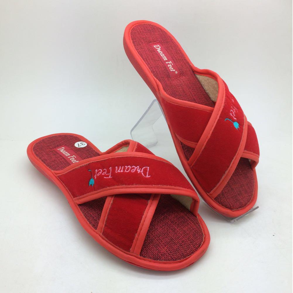 319a6c21b071f Тапочки для гостей. Распродажа: Красные женские Тапочки с открытым носком -  KIEV SHOES -