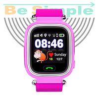 Smart Baby Watch Q100 c GPS трекером / Детские умные часы Розовый