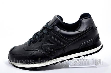 Кожаные кроссовки в стиле New Balance 574 Premium, Black, фото 2