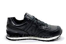Кожаные кроссовки в стиле New Balance 574 Premium, Black, фото 3