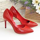 Женские кожаные красные туфли на шпильке