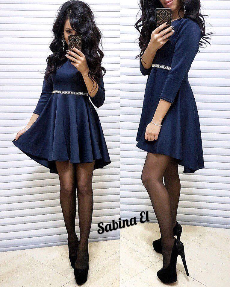 Платье с рукавом с свободной юбкой высокая талия