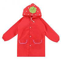 ✅ Детский дождевик, красная клубничка, плащ от дождя
