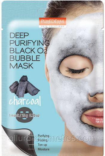 Пузырьковая маска PUREDERM Deep Purifying Black O2 Bubble Mask Charcoal