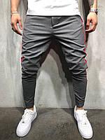 Мужские брюки серые с красно-черными лампасами BDB29