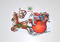 Дед Мороз и олени. Декоративная наклейка