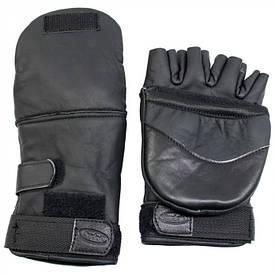 Перчатки кожаные на флисе с откидной варежкой черные
