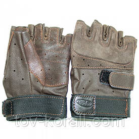 Перчатки тактические беспалые кожаные коричневые