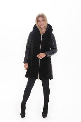 Куртка-трансформер из натуральной кожи и мехом норки