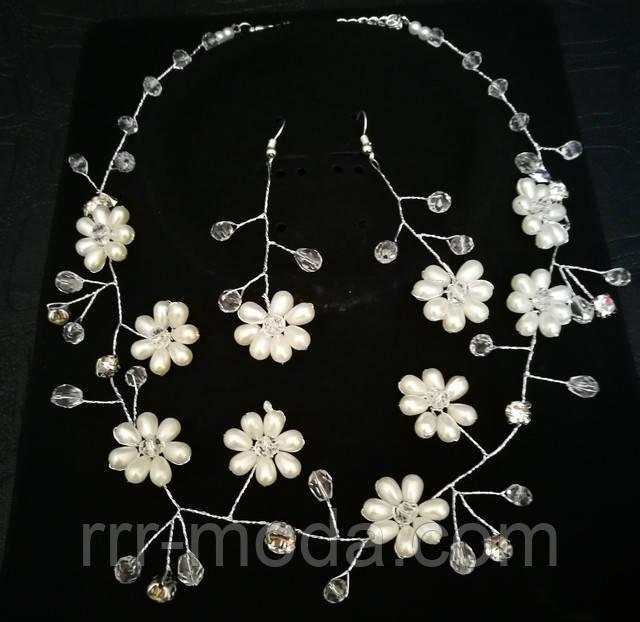 Свадебные украшения со стеклярусом. Свадебные комплекты - плетенные ожерелья и серьги оптом.