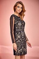 Красивое стильное кружевное черно-бежевое платье Guitar 42
