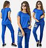 Женский  костюм  из комбинированной ткани джинс+двухнить, с декором /3 цвета  арт 6461-92, фото 2