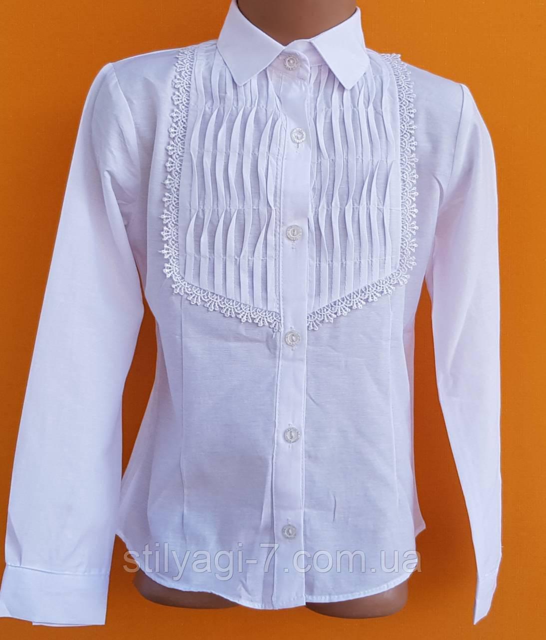 Блузка для девочки 10-13 лет белого цвета оптом
