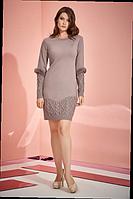 Вязаное платье красивого кофейного цвета 46