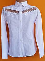 Блузка для девочки 6-9 лет белого цвета оптом