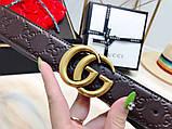 Ремінь Гуччі шоколадний, з бронзою, 3.5 см, пояс, натуральна шкіра, фото 2
