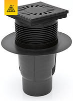 Трап МСН 327 S-li с чугунной решеткой 150х150 мм, DN110, сухой сифон,для улицы и паркингов