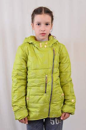 Дешево детская демисезонная куртка в сердечки, р.122-146, фото 2