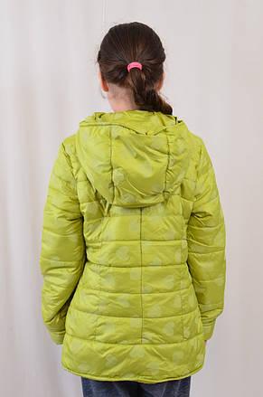 Дешево детская демисезонная куртка в сердечки, р.122-146, фото 3