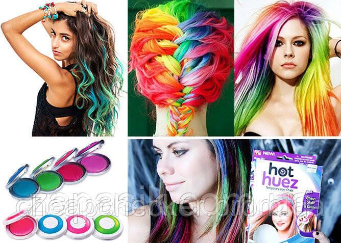 Цветная Пудра для Волос Hot Huez Мелки