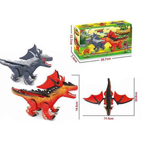 Динозавр 688-3 25см, звук, свет, ходит, 2цвета, на батарейках, в коробке, 24,5-14-7,5см, фото 2