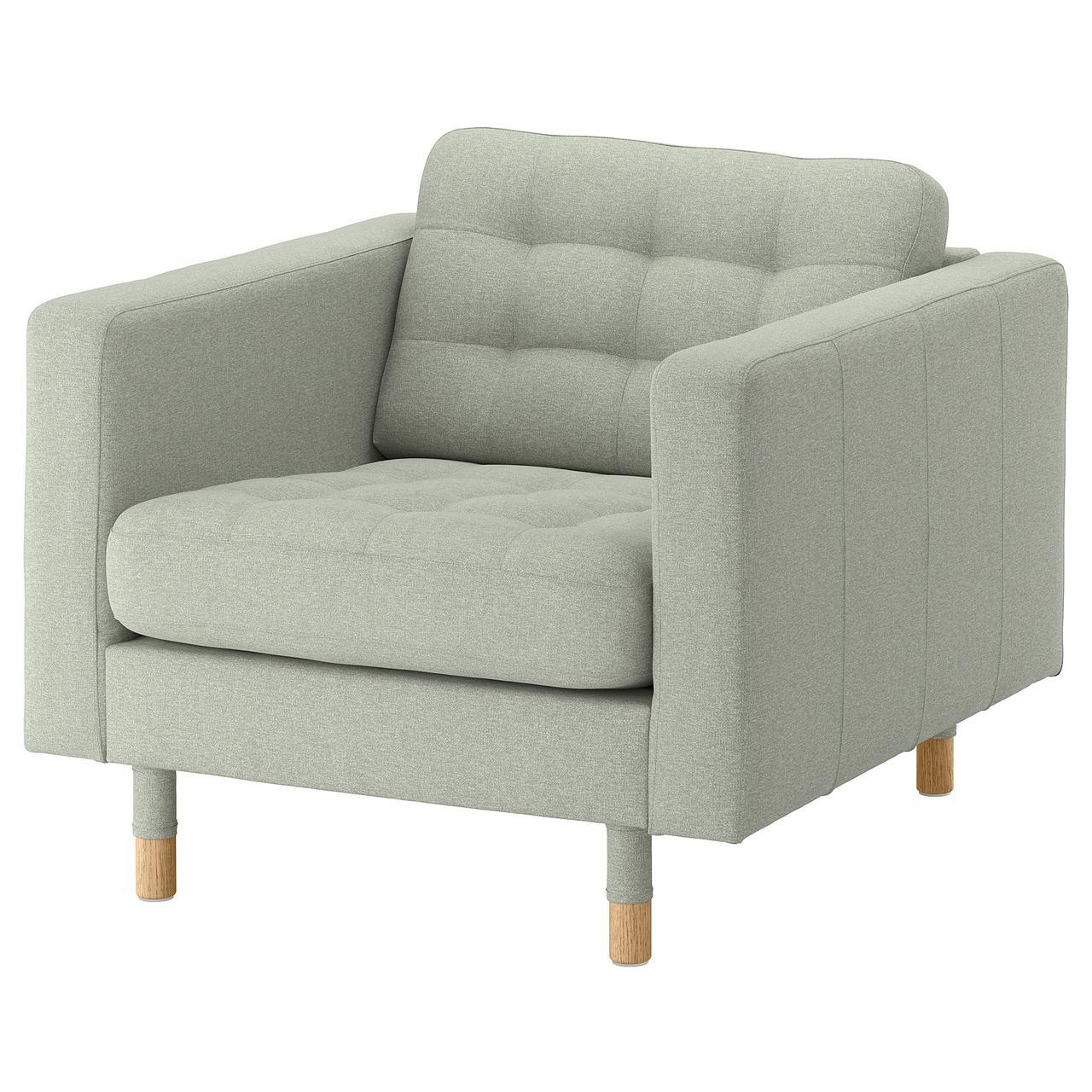 Кресло IKEA LANDSKRONA Gunnared светло-зеленое на деревянных ножках 892.697.21