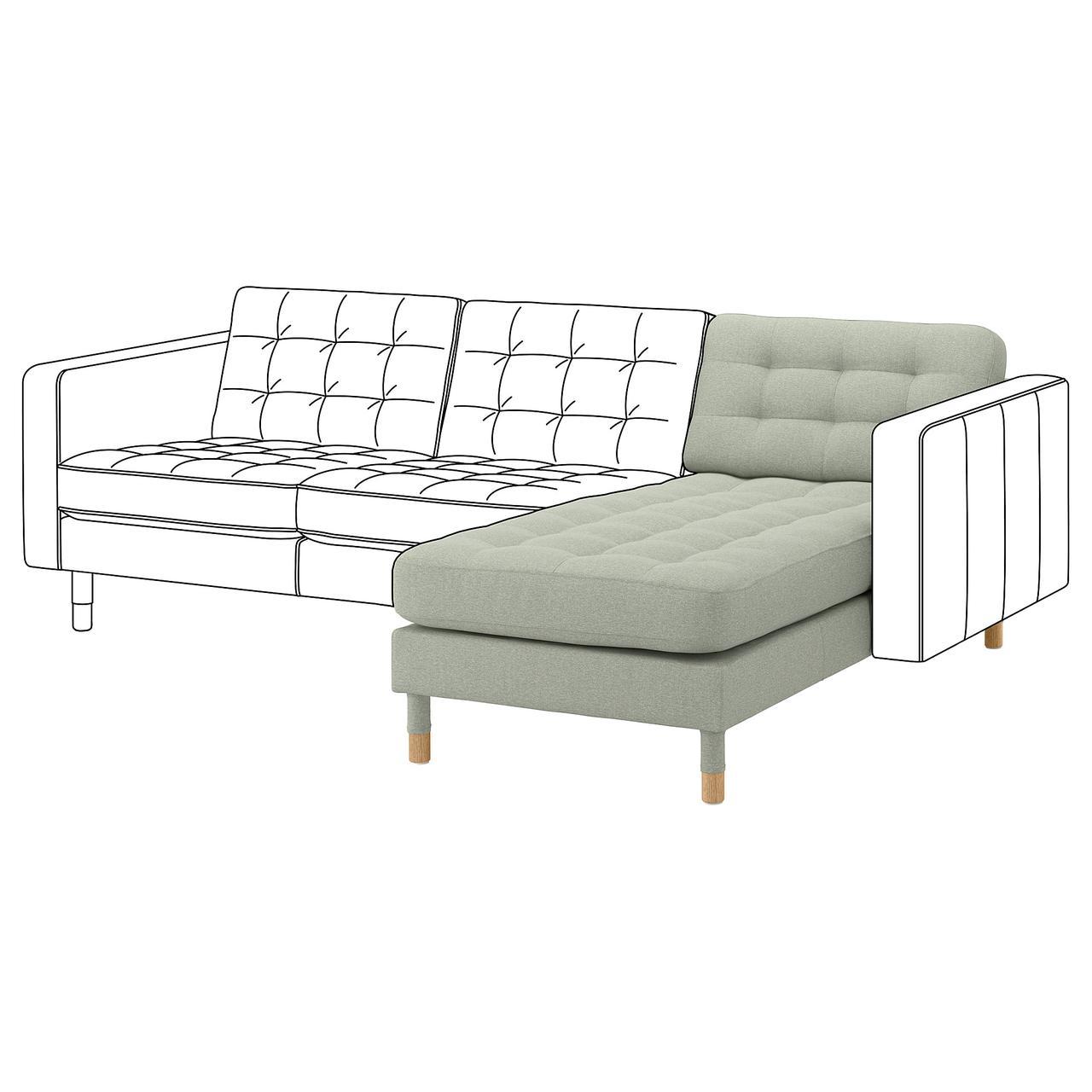 Шезлонг / часть модульного дивана IKEA LANDSKRONA Gunnared светло-зеленый 492.702.60