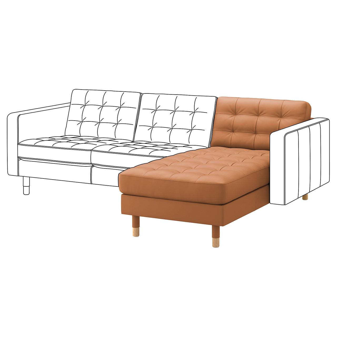 Шезлонг / часть модульного дивана IKEA LANDSKRONA Grann Bomstad коричневый 792.691.80