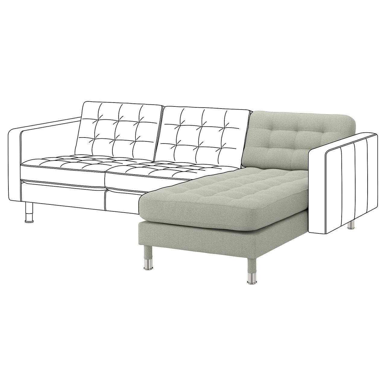 Шезлонг / часть модульного дивана IKEA LANDSKRONA Gunnared светло-зеленый 492.702.55