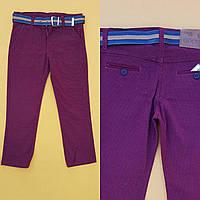 Брюки для мальчика 8-12 лет бордового цвета с поясом оптом