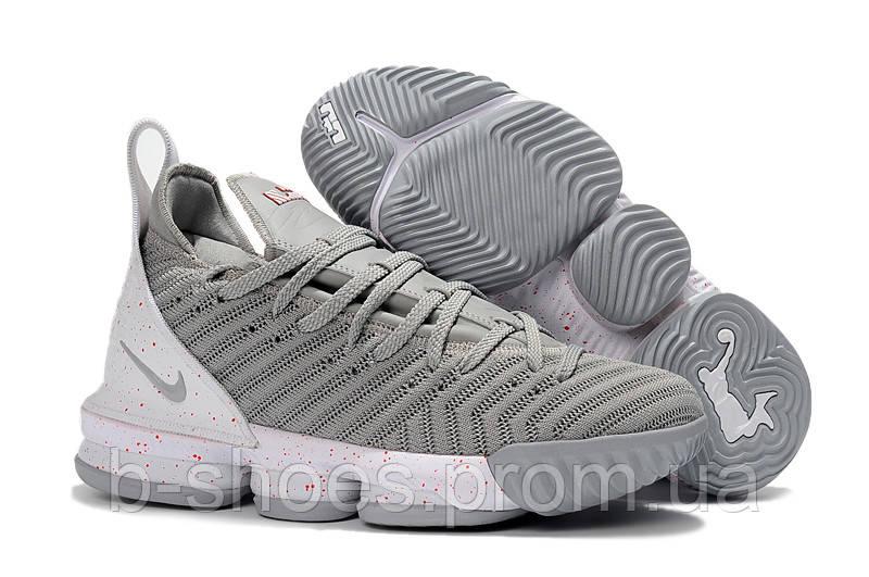 Детские баскетбольные кроссовки Nike LeBron 16 (Gray White) купить в ... 55cc443325d