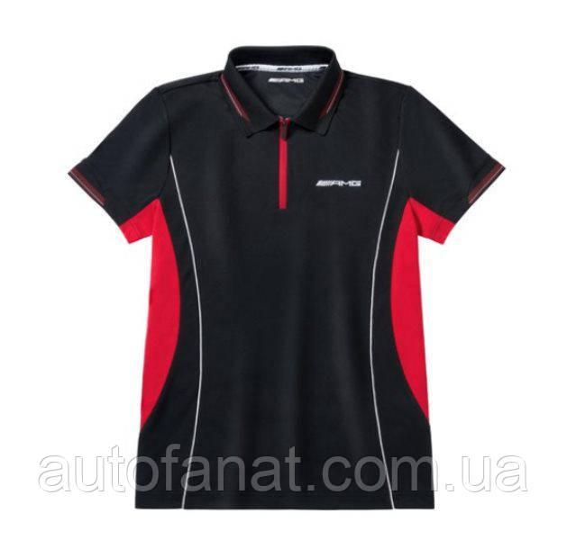 Оригинальная мужская рубашка-поло Mercedes-AMG Men's Performance Polo Shirt, Black/Red (B66958553)