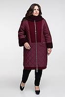 Куртка длинная комбинированная с меховой отделкой, с 54 по 68 размер , фото 1