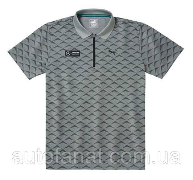 Оригинальная  мужская рубашка-поло Mercedes AMG Petronas Motorsport, Men's Polo Shirt, Grey (B67995455)