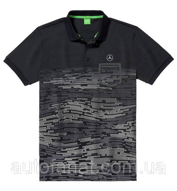 Оригинальная мужская рубашка-поло Mercedes-Benz Men's Polo Shirt, Hugo Boss, Black/White/Silver (B66958478)