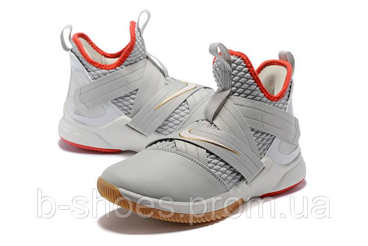 Мужские баскетбольные кроссовки Nike LeBron Soldier 12 (Platinum/Red/Gold)