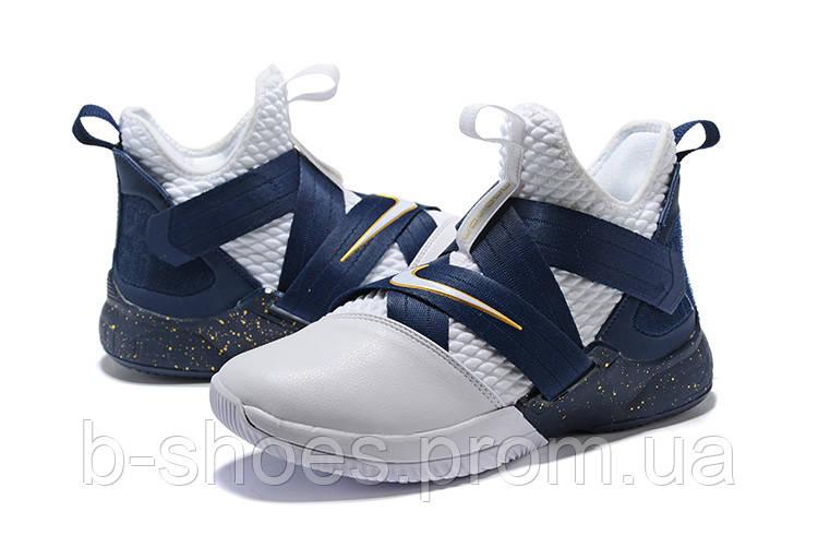 Мужские баскетбольные кроссовки Nike LeBron Soldier 12 (Dark blue/White)