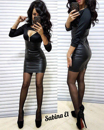 Платье короткое с декольте стеганная кожа и трикотаж, фото 2