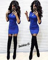Платье мини обтягивающее с декольте и рукавом, фото 2