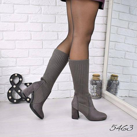 02f3815a Сапоги, ботинки ниже колена, на каблуке, серые